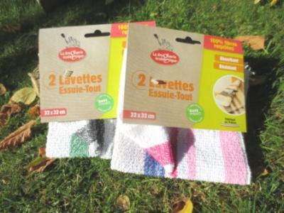 Lot 2 lavettes essuie-tout recyclées